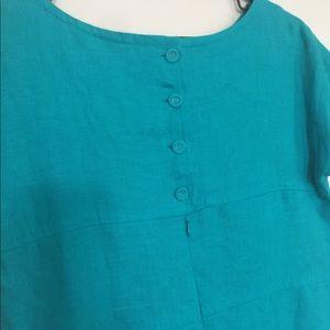 Banana Republic Teal 100% linen short sleeve dress